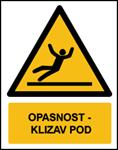 Picture of W011 - OPASNOST - KLIZAV POD (CS-OP-013) - naljepnica 300x400 mm