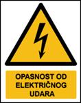 Picture of W012 - OPASNOST OD ELEKTRIČNOG UDARA (CS-OP-007) - PVC ploča 180x230 mm