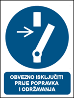 Picture of M021 - OBVEZNO ISKLJUČITI PRIJE POPRAVKA I ODRŽAVANJA (CS-OB-037)