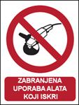 Picture of CS-ZA-008 - ZABRANJENA UPORABA ALATA KOJI ISKRI - PVC ploča 260x340 mm