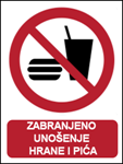 Picture of P022-B - ZABRANJENO UNOŠENJE HRANE I PIĆA (CS-ZA-011-B) - PVC ploča 180x230 mm