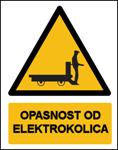 Picture of CS-OP-021 - OPASNOST OD ELEKTROKOLICA - naljepnica 300x400 mm