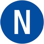 Picture of N - NEUTRALNI VODIČ IZMJENIČNE STRUJE - naljepnica Ø 16 mm