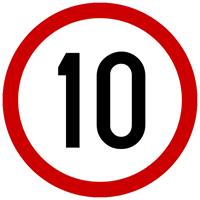 Slika CS-INFO-070 - OGRANIČENJE BRZINE 10 km/h