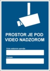 Picture of CS-VID-005 - PROSTOR JE POD VIDEO NADZOROM (GDPR)